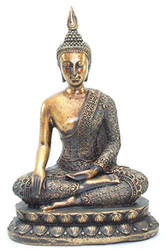 Feng Shui 8.5'(H) Thai Earth Touching Shakyamuni Meditating Buddha Figurines Peace Luck Prosperity Statues Paperweights Home Decor Housewarming Gift G16517 ~ WPYST