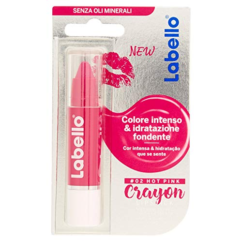 Labello Crayon Lipstick Matitone Labbra Colora e Idrata, senza Oli Minerali e Parabeni, Hot Pink