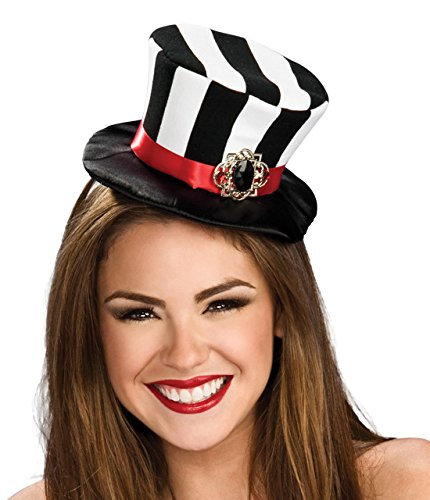 Rubie's Women's Black and White Striped Mini Top Hat, Black/White, One Size