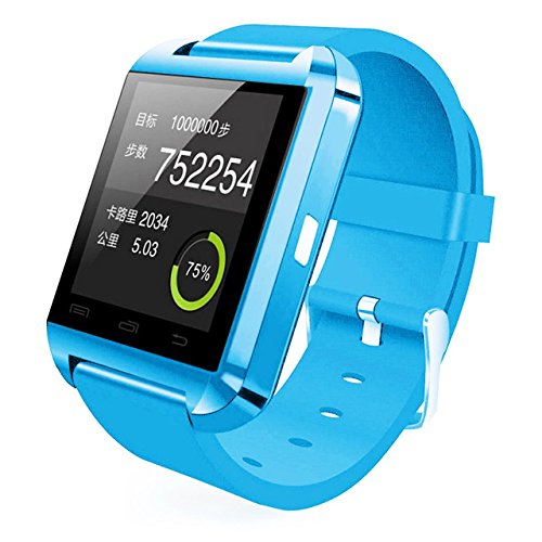 [Prime] U8 Bluetooth V4.0 Bluetooth Wrist Smart Watch Wristwatch UWatch for iOS Android iPhone 4/4S/5/5C/5S Samsung S2/S3/S4/Note 2/Note 3 HTC Sony BlackBerry,Sky Blue