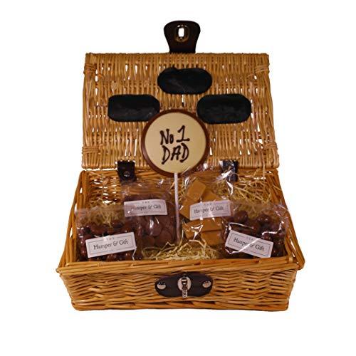 'No.1 Dad' Chocolate & Fudge Hamper Gift Basket - Perfect Confectionery Present for Dad