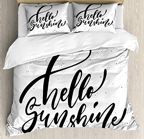 Zozun Hello Sunshine Duvet Cover Set, Monochrome Hand Lettering Inky Phrase on a Grunge Effect Background, Decorative 3 Piece Bedding Set with 2 Pillow Shams, Charcoal Grey White