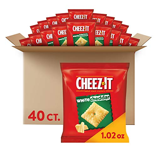 Cheez-It White Cheddar, Baked Snack Cheese Crackers - Single Serve School Lunch Snacks (Case contains 40 Count)