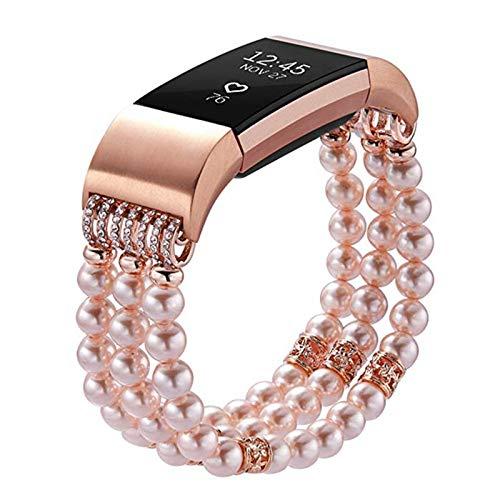 XIALEY Correas Compatible con Fitbit Charge 2, Banda De Moda para Mujer Y Niña Correa De Repuesto Pulsera Brazalete Deportiva, Accesorios De Reloj Inteligente para Charge 2,Rose Gold