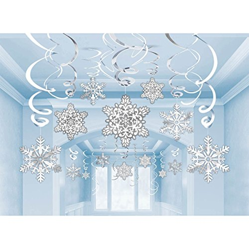 amscan Christmas Snowflake Swirl Hanging Cutout Decorations - by Christmas