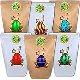 Ostertüten aus Papier - Osternest Geschenktüten zum Basteln Ostern - DIY Tüten Aufkleber Osterhasen - 12 Papiertüten Osterdeko