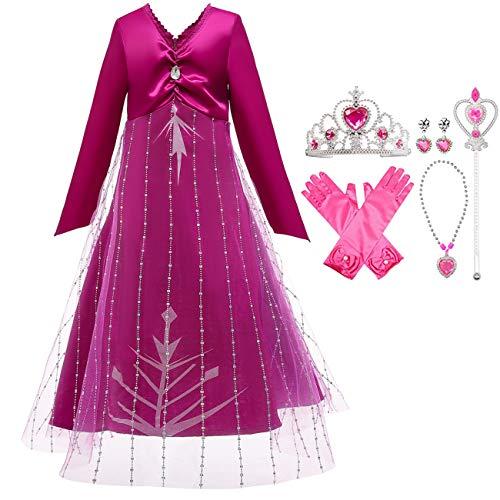 O.AMBW Elsa disfraz niña princesa vestido snow queen 2 rosa manga larga tul vestido de noche fiesta de navidad de halloween cumpleaños mascarada película cosplay disfraz copo de nieve palo peluca 3-10