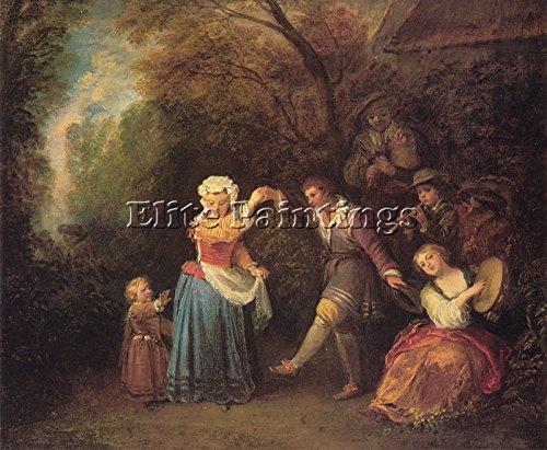 Elite-Paintings Jean Antoine Watteau Danse CHAMPETRE Artista Quadro Dipinto Olio su Tela Mano 50x60cm Alta qualita