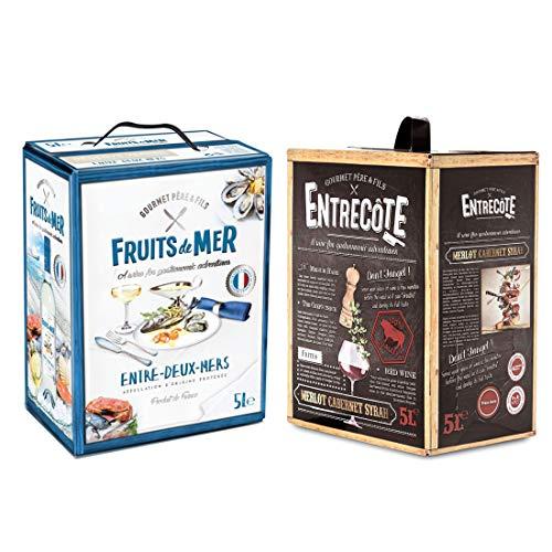 BIB 2 er Party Set Rot/Weiss - Entre-deux-Mers Weißwein Merlot Cabernet Syrah - ENTRECOTE Rotwein - Bag in Box Probierpaket, Box mit:2 Boxen
