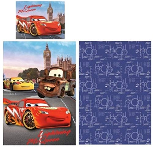 JF Disney Cars - Juego de cama (funda nórdica de 140 x 200 cm y funda de almohada de 70 x 90 cm, 100% algodón)