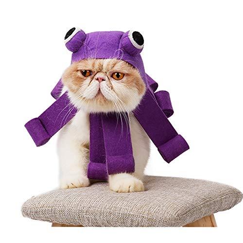YANQIN Disfraz De para Gato, Gorro De Halloween De Pulpo Morado De TamaO Ajustable ElStico para Gatos Y Perros 1 Pieza para Juegos De rol Durante Las Vacaciones