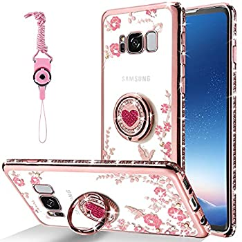CPAYAI for Samsung Galaxy S8 Plus Case Glitter Diamond Butterfly Floral Soft TPU Silicone Cases Bling Crystal Cute Protective Cover With Shiny Rhinestone Ring Stand for Galaxy S8 Plus S8+  Rose Gold