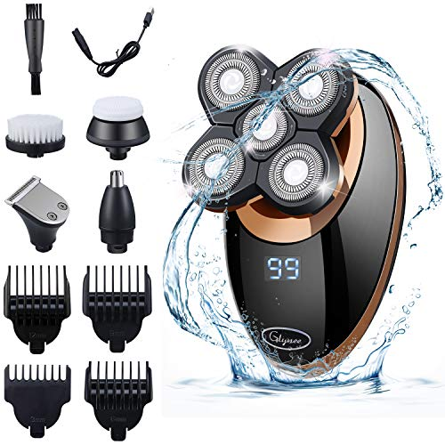 Rasierer Herren Elektrisch, Glynee 5 in 1 Elektrorasierer Herren Glatzen Haarschneider Nasenhaarschneider,Gesichtsrasierer, Perfekt Pflege für Männern USB-Wiederaufladbar