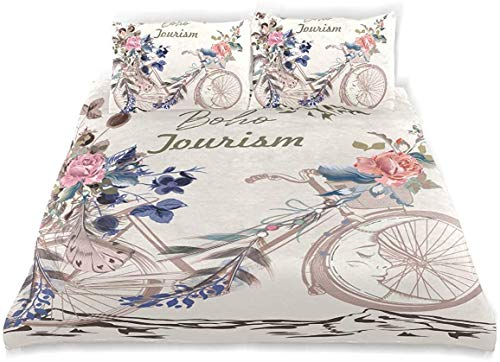 Kanaite Juego de Funda nórdica Hermosa ilustración Boho Bicicleta Estilo Tribal Juego de Cama Decorativo de 3 Piezas con 2 Fundas de Almohada