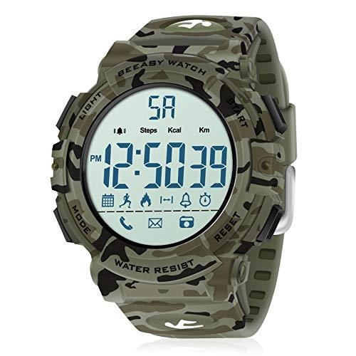 Beeasy Relojes Digital Hombre,Reloj Deportivo Hombre Impermeable Watches LCD Esfera Grande Inteligente Fitness Tracker Contador Calorías Podómetro Cámara Remota App Notificación de Llamadas,Camuflaje