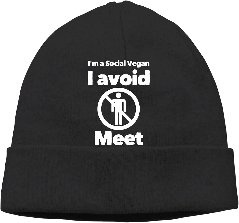 Social Vegan I Avoid Meet3 Slogan Cap Warm Beanie Vi Unisex Ranking TOP17 Hats Max 77% OFF