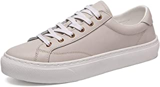 PANFU-AU Genuine Leather Lace Up Style Round Toe Breathable Simple and Pure Color Sports Shoes Athletic Shoes Men Fashion Casual Lightweight