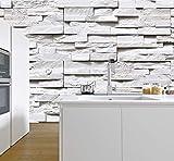 murimage Papier Peint Brique 3D 274 x 254 cm Photo Mural Pierre Blanc Gris rustique salle de séjour chambre à coucher wallpaper colle inclus