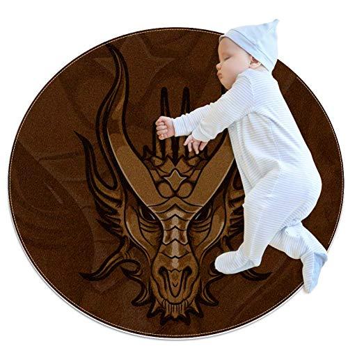 Red Dragon Majesty Tapis de jeu pour bébé Tapis modernes doux ronds pour les décorations de salle de plancher 80x80cm
