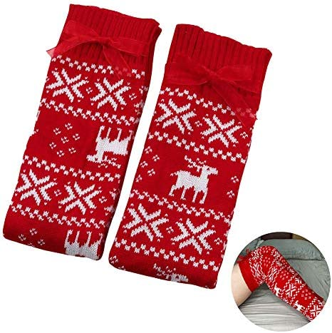 Shockcloud Women s Christmas Leg Warmers Thigh High Knit Loose Socks With Bow for Holiday Party product image
