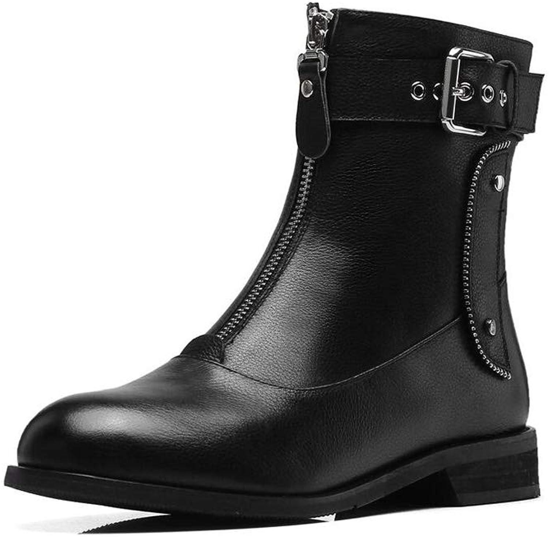 Xiaolin Winter Chelsea Boots Zipper Martin Boots Belt Buckle Plus Velvet Women's Boots Leather Boots (color   Black, Size   US6.5-7 EU37 UK4.5-5 CN37)
