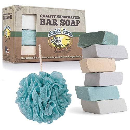 Amish Farms Natural Ingredients Handmade Bar Soap – Cold Pressed – Hand-cut – 6 Bars Gift Set + iBAETH Loofah Bath Sponge for Body – Colors May Vary
