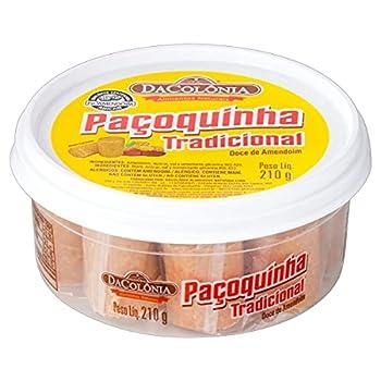 Barre fine d'arachide, boîte en plastique 210g - Paçoca Rolha Tradicional DACOLONIA 210g