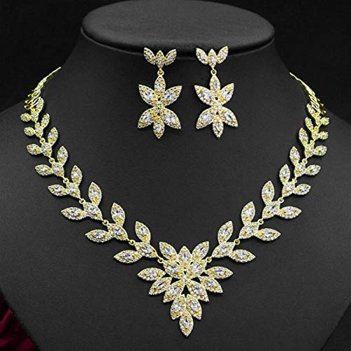 YRCBQJBE HIBRIDE AAA Cubic Zirconia 2pcs Jewelry Set Fashion Leaf Design Pendant Necklace and Earring Sets for Woman N 817 Women's Jewelry (Color : Gold Color)