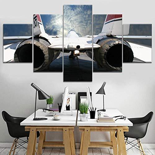 N / A 5 Panel Aircraft Paintings Leinwand Poster für Schlafzimmer Wandkunst Drucke Bilder Home Decoration Modern-20x35 20x45 20x55cm Kein Rahmen