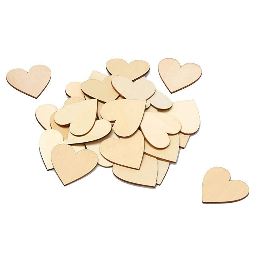 RERIVER 2-Inch Wood Heart 100pcs Blank Unfinished Wooden Slices Discs Cutout Pieces Wedding Guestbook Signin Party Guest Greetings DIY Crafts Projects 100