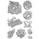 BLOUR 8pcs / Set 3D Metal DIY Pegatinas Juego Caliente Monster Hunter Logo Sticker para teléfono Laptop Decal Stickers Decorativos Toy Gift