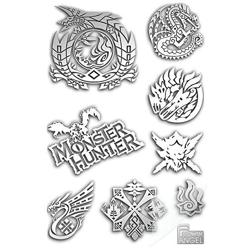 PMSMT 8pcs / Set 3D Metal DIY Pegatinas Juego Caliente Monster Hunter Logo Sticker para teléfono Laptop Decal Stickers Decorativos Toy Gift