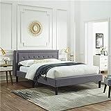 Classic Brands Mornington Upholstered Platform Bed   Headboard and Metal Frame with Wood Slat Support, King, Light Grey