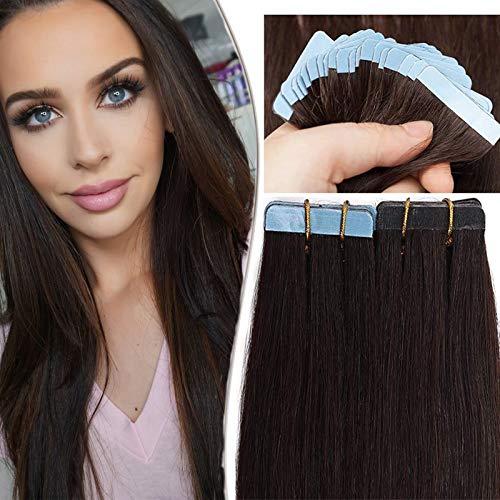 SEGO Tape Extensions Echthaar 20 Tressen/30 g Klebeband Haarverlängerung Haarteile 100% Remy Human Haar Kleber Dunkelbraun#2 22