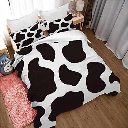 ZFSZSD Bettbezug Kuhflecken Single/Bettbezug 135 x 200 cm Bettwäsche Set - Bettbezug und Kissenbezug,Mikrofaser,3D Digital Print dreiteiliger Bettwäsche