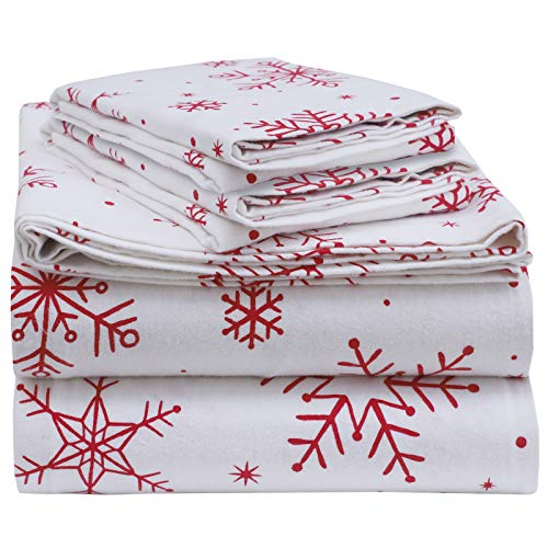 EnvioHome 160 GSM Durable Cotton Winter Flannel Sheet Set - 4 Pc - Queen, Snowflakes Red