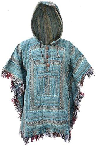 Poncho Little Kathmandu, de estilo Hippie, con capucha, de algodón G Talla única