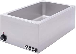 Adcraft FW-1200W Electric Full-Size Countertop Food Warmer, Stainless Steel, 1200-Watts, 120v
