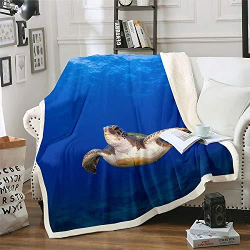 Loussiesd Manta de sherpa con estampado de reptiles en 3D, manta de felpa marina, para sofá, cama, decoración de habitación, animales subacuáticos, manta ligera y difusa para bebé de 76 x 100 cm
