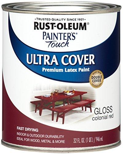 Rust-Oleum 1964502 Enamel Paint, Quart, Gloss Colonial Red, 32 Fl Oz