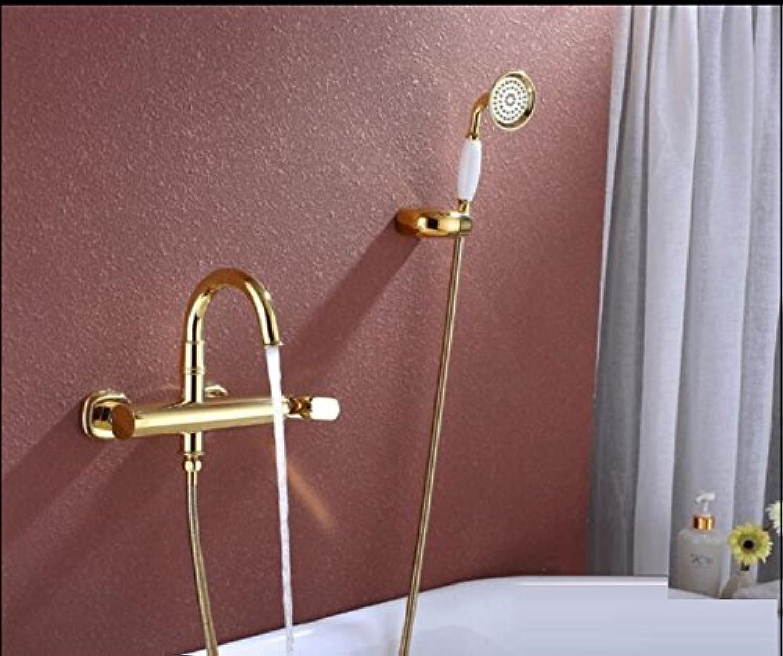 Bijjaladeva Antike Badezimmer Regen Mixer Dusche Regendusche Hahn System Tippen Kupfer Gold Badewanne Dusche Mischerwand Kaltes Wasser Sprühkopf Handheld Kit Dusche