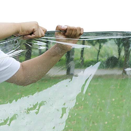 WUZMING-Tarpaulin Waterproof Heavy Duty PVC Soft Plastic Clear Tarpaulin, Rainproof Windshield With Eyelet Balcony Gardening Plant Cover, 400g/m² (Color : Clear-0.3mm, Size : 266x310cm)