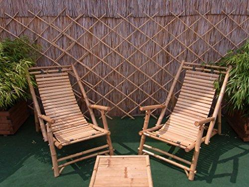 BIHL Bambusliegestuhl Sonnenliege Bambus-Liegefläche Armlehne