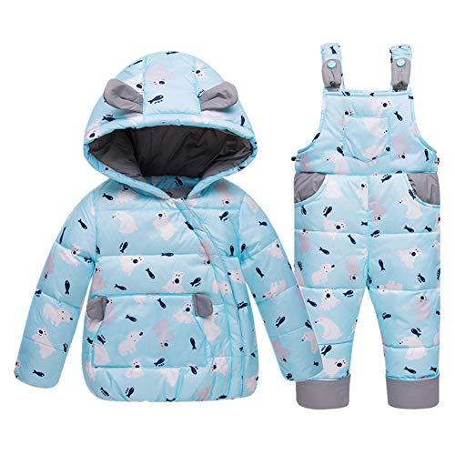 SXSHUN Baby Mädchen Junge Süß Daunenjacke Winterjacke mit Kapuze + Daunenhose Winterhose Kinder 2tlg Bekleidungsset Schneeanzug Skianzug, Hellblau, 86 (Etikettengröße:90)