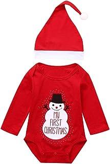 H.eternal(TM), Conjunto de Traje de Papá Noel con Estampado de muñeco de Nieve y Gorro para niños