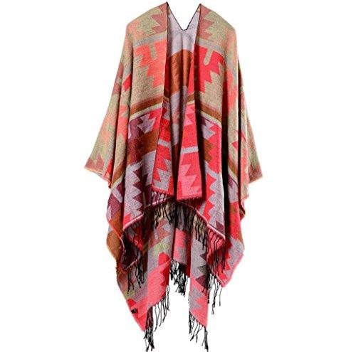 JH Frauen Mode Nepal Stil geometrischen Mustern Oversized verdickte Decke Schal Wickeln Poncho Schal Cape gemütliche Faux Cashmere Frau 150 * 130cm, c
