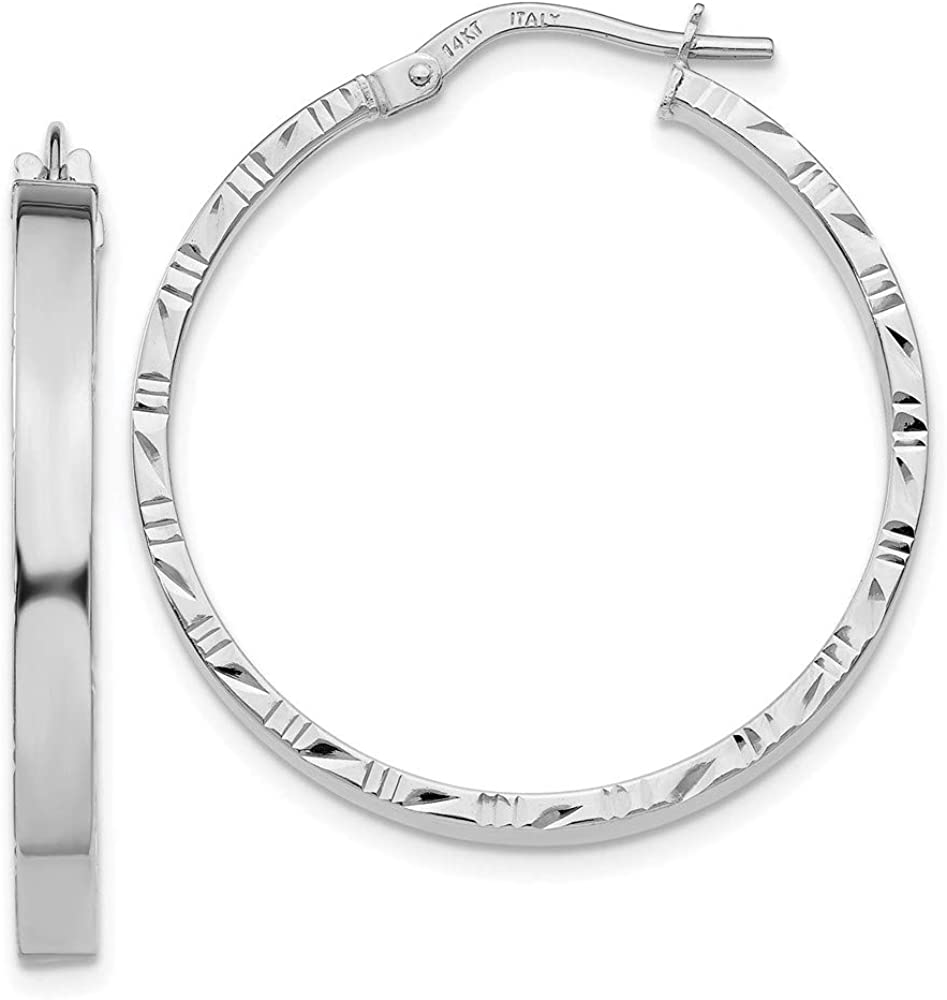 14k White Gold Edge Large 3mm Hoop Earrings Ear Hoops Set Round Fine Jewelry For Women Gifts For Her