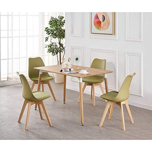 Table et 4 chaises P & N Homewares® modèle Lorenzo - Style scandinave rétro et moderne - Table en bois marron - Pour la salle à manger