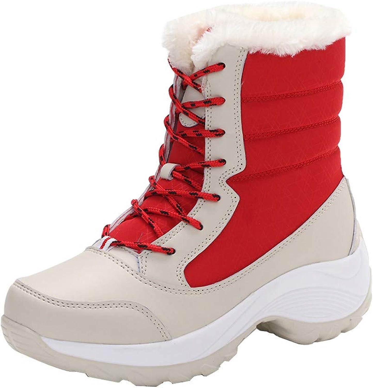 Amaping Women's Platform Flock Ankle Snow Boots Waterproof Martin Single shoes Black