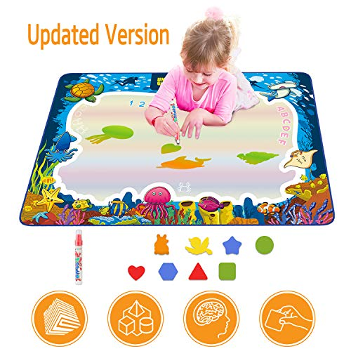 Water Drawing Mat for Kids, Play Pad Educational Gifts Developmental Toys Coloring Water Magic Mats Scribble Board Pad Painting Markers for Baby Toddler with Pens